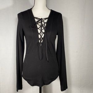 Free People Plunge corset lace up pullover M